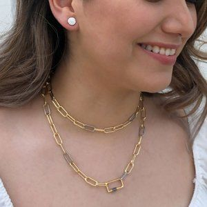 Jewelry - Gold & Silver Chunky Chain Necklace Carabiner Lock